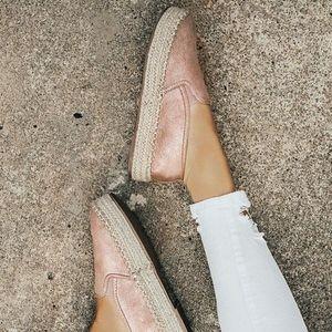 Shoes - Blush Espadrille Platform Slip On Sandals